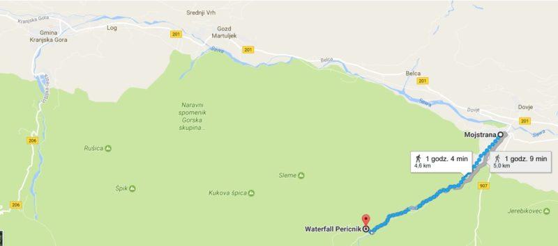 Szlak Mojstrana - Wodospad Peričnik